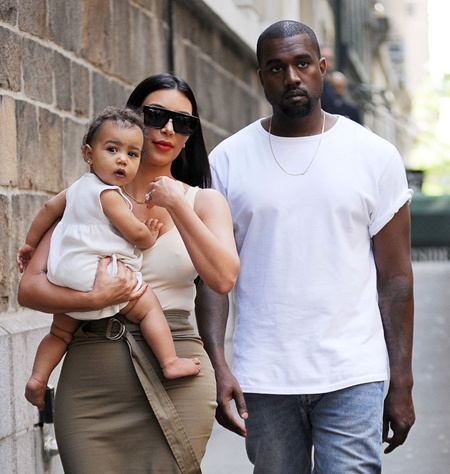 Kim Kardashian, Kanye West and Daughter North West Leaving The Children's Museum Of Manhattan