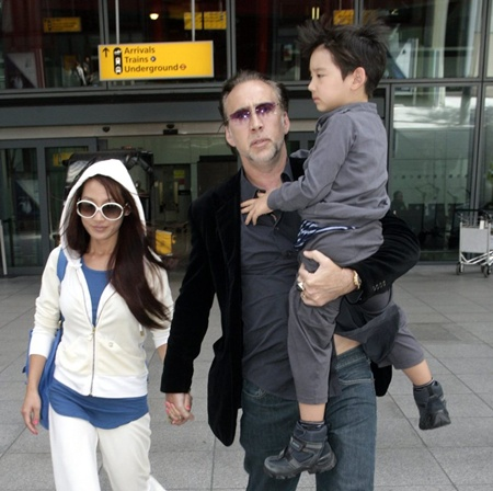 Nicholas Cage and family arrive at Heathrow airport, London, UK