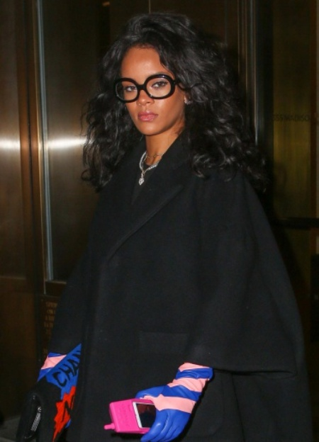 Rihanna Wears Colorful Leather Gloves & Carries A Chanel Purse