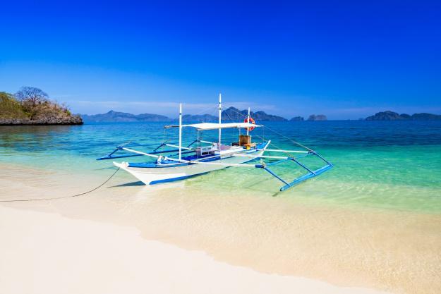 Filipino boat in the sea, Boracay, Philippines