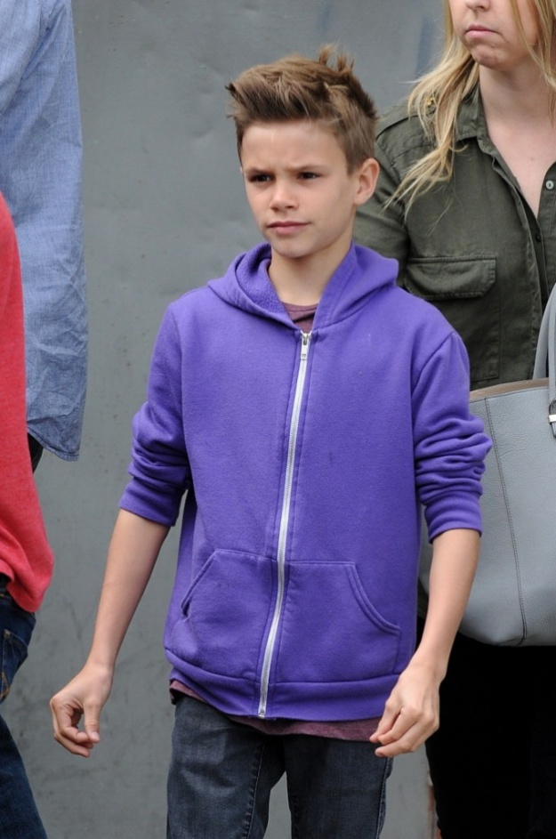 ©NATIONAL PHOTO GROUP Victoria Beckham and her children have breakfast at Jack and Jill's Restaurant in Beverly Hills. Pictured: Romeo Beckham Job: 040413X5 Non-Exclusive April 4th, 2013 Beverly Hills, CA NPG.com