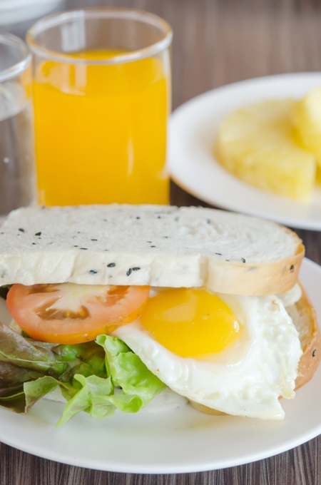 fresh sandwich with tomatoes , lettuce and fried egg on dish with juice