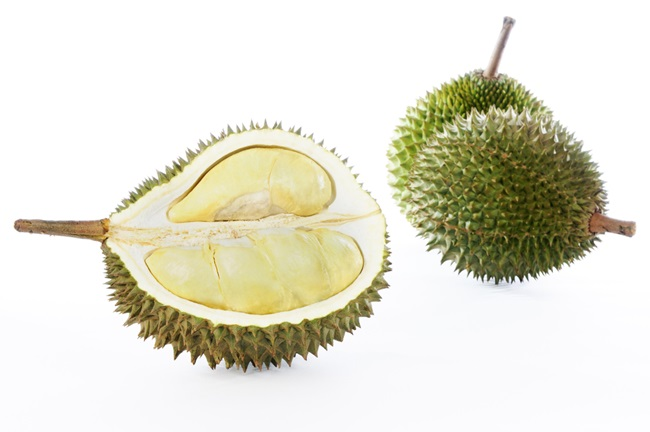 Durians on white background