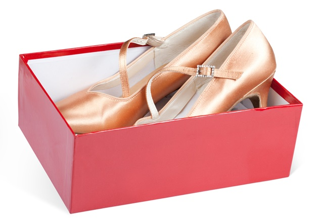 Lady's shoes in the red box isolated on a white background