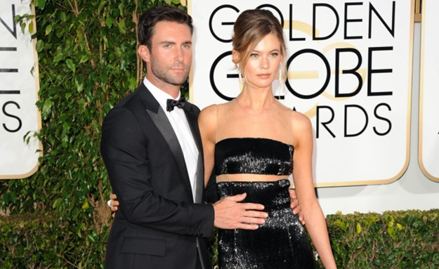 Adam Levine, Behati Prinsloo - January 11, 2015 - 72nd Annual GOLDEN GLOBE AWARDS - Arrivals held at The Beverly Hilton, Beverly Hills, CA. (Photo by David Crotty/Patrick McMullan) *** Please Use Credit from Credit Field ***