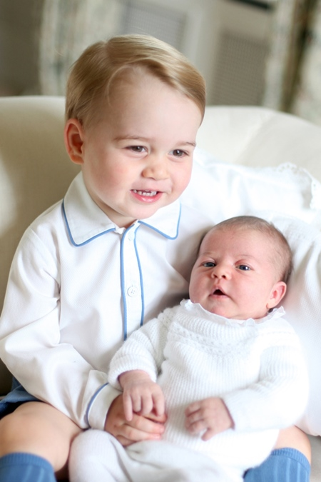 Photo Must Be Credited ©Alpha Press 073074 05/06/2015 Undated handout photo released by the Duke and Duchess of Cambridge of Prince George and Princess Charlotte of Cambridge Elizabeth Diana. The photograph was taken by the Duchess in mid-May at Anmer Hall in Norfolk. *** No UK Rights Until 28 Days from Picture Shot Date *** NEWS EDITORIAL USE ONLY. NO COMMERCIAL USE (including any use in merchandising, advertising or any other non-editorial use including, for example, calendars, books and supplements) All other requests for use should be directed to the Press Office at Kensington Palace in writing