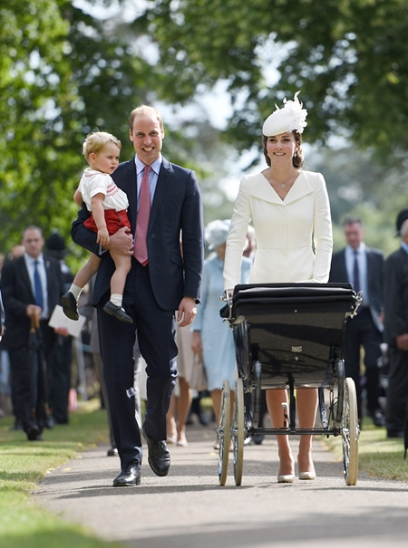 Photo Must Be Credited ©Alpha Press 073074 05/07/2015 Prince William Duke of Cambridge, Prince George of Cambridge, Kate Duchess of Cambridge Catherine Katherine Middleton and Princess Charlotte of Cambridge Elizabeth Diana at the Church of St Mary Magdalene on the Sandringham Estate for the Christening of Princess Charlotte of Cambridge in King's Lynn, Norfolk. *** No UK Rights Until 28 Days from Picture Shot Date ***