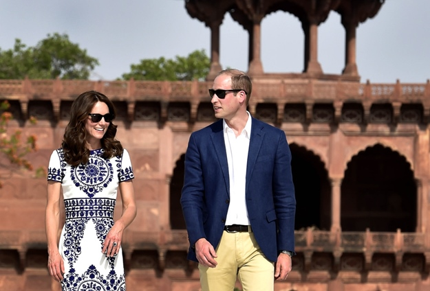 Britain's Prince William, Duke of Cambridge, and Catherine Middleton Duchess of Cambridge during their visit at Taj Mahal in Agra, India on April 16, 2016. (Photo by Ajay Aggarwal/Hindustan Times ) *** Please Use Credit from Credit Field ***