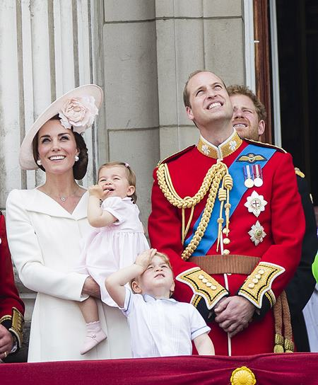 Mandatory Credit: Photo by DAVID HARTLEY/REX/Shutterstock (5725814p) Catherine Duchess of Cambridge, Princess Charlotte of Cambridge, Prince George and Prince William watch the flypast from tha balcony of Buckingaham Palace Trooping The Colour - The Queen's Birthday Parade, London, UK - 11 Jun 2016