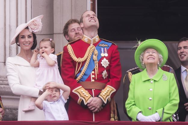 """The Royal family attends the """"Trooping of the Colour"""" which forms part of the Queen's 90th birthday celebrations at Buckingham Palace in London. Featuring: The Duchess of Cambridge, Princess Charlotte, Duke of Edinburgh, Queen Elizabeth II, Sophie the Countess of Wessex, Lady Louise Windsor Where: London, United Kingdom When: 11 Jun 2016 Credit: Euan Cherry/WENN.com"""