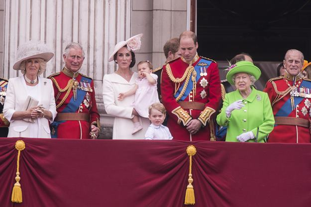 """The Royal family attends the """"Trooping of the Colour"""" which forms part of the Queen's 90th birthday celebrations at Buckingham Palace in London. Featuring: Camilla the Duchess of Cornwall, The Prince of Wales, The Duchess of Cambridge, Princess Charlotte, Prince George, The Duke of Cambridge, Queen Elizabeth II, Duke of Edinburgh Where: London, United Kingdom When: 11 Jun 2016 Credit: Euan Cherry/WENN.com"""