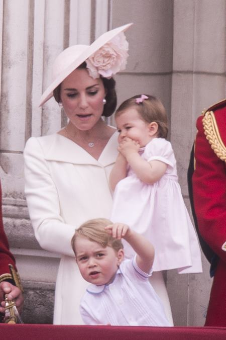 """The Royal family attends the """"Trooping of the Colour"""" which forms part of the Queen's 90th birthday celebrations at Buckingham Palace in London. Featuring: Prince George, The Duchess of Cambridge, Princess Charlotte Where: London, United Kingdom When: 11 Jun 2016 Credit: Euan Cherry/WENN.com"""