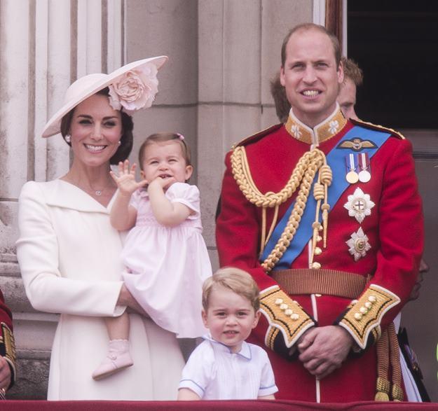 """The Royal family attends the """"Trooping of the Colour"""" which forms part of the Queen's 90th birthday celebrations at Buckingham Palace in London. Featuring: Prince George, The Duchess of Cambridge, Princess Charlotte, The Duke of Cambridge Where: London, United Kingdom When: 11 Jun 2016 Credit: Euan Cherry/WENN.com"""