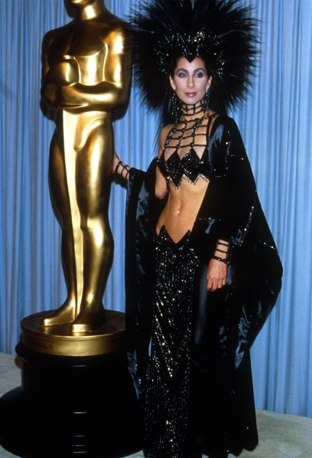 """353424 09: Actress Cher attends the Academy Awards March 24, 1986 in Los Angeles, CA. Cher would later win the 1988 Best Actress Oscar for her role as Loretta Castorini in """"Moonstruck."""" (Photo by Julian Wasser/Liaison)"""