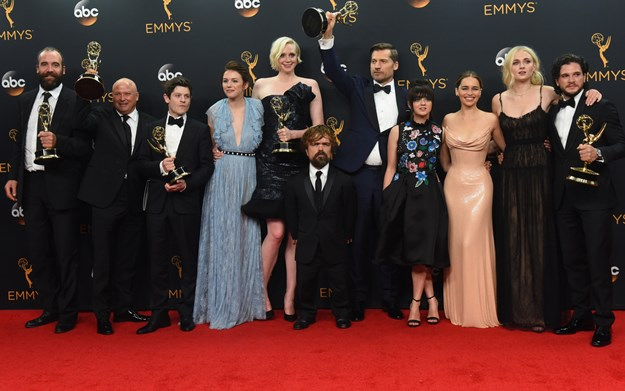 September 18, 2016 - Los Angeles, California, United States - The cast of ''Game of Thrones'' who won the Emmy Award for Outstanding Drama Series, pose backstage at the 68th Annual Emmy Awards at the Microsoft Theater in Los Angeles, California on Sunday, September 18, 2016. (Credit Image: © Michael Owen Baker/Los Angeles Daily News via ZUMA Wire)