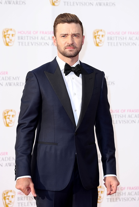 LONDON, ENGLAND - MAY 08: Justin Timberlake arrives for the House Of Fraser British Academy Television Awards 2016 at the Royal Festival Hall on May 8, 2016 in London, England. (Photo by Mike Marsland/Mike Marsland/WireImage)