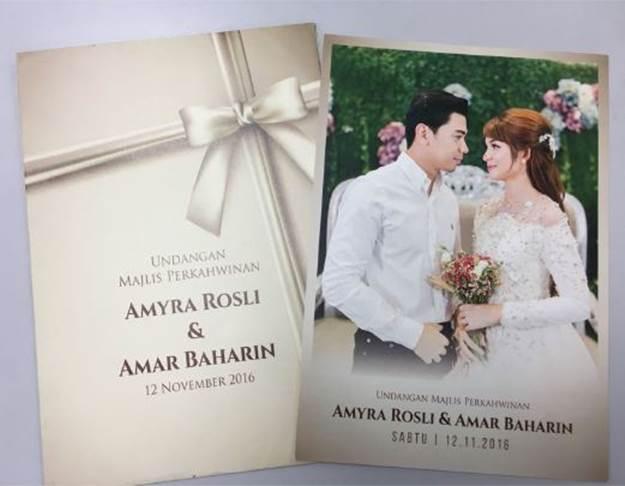 Amyra Rosli Dan Amar Baharin Mula Edar Kad Kahwin