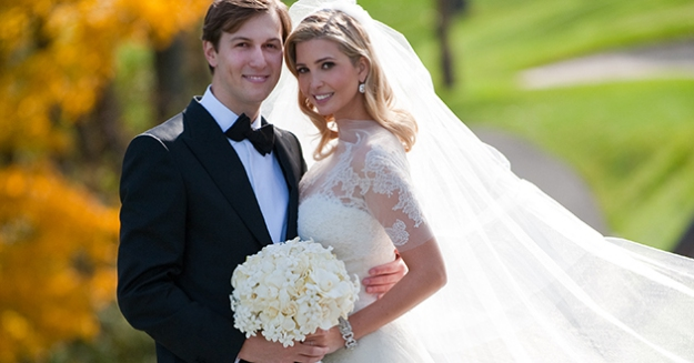 BEDMINSTER, NJ - OCTOBER, 25:  In this handout image provided by Ivanka Trump and Jared Kushner, Ivanka Trump (R) and Jared Kushner (L) attend their wedding at Trump National Golf Club on October 25, 2009 in Bedminster, New Jersey. (Photo Brian Marcus/Fred Marcus Photography via Getty Images)