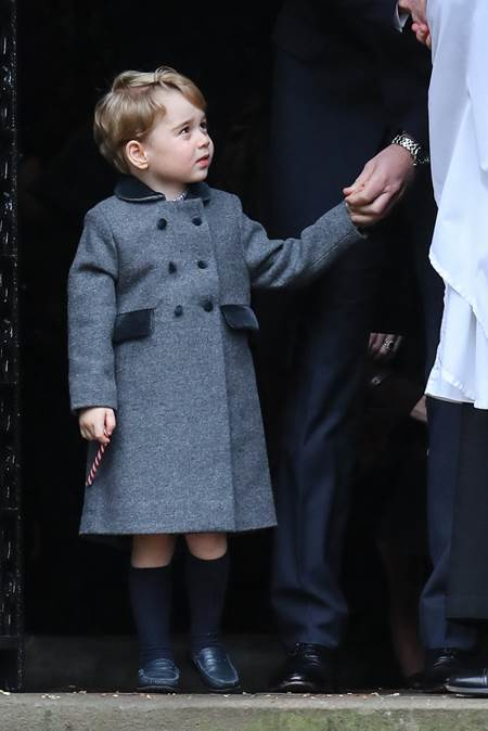 The Duke and Duchess of Cambridge arrive at St Marks Englefield with Prince George and Princess Charlotte. The family were also accompanied by Michael and Carol Middleton, James Middleton, Pippa Middleton and her fiance James Matthews. Featuring: Prince George Where: Englfield, United Kingdom When: 25 Dec 2016 Credit: WENN.com