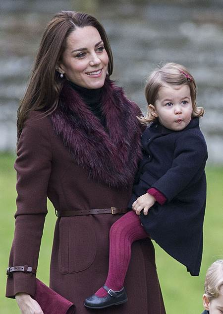 Mandatory Credit: Photo by Rupert Hartley/REX/Shutterstock (7665923e) Prince Willam and Catherine Duchess of Cambridge take Princess Charlotte to church on Christmas morning at Englefield, as they spend Christmas with the Middleton family. Christmas Day church service, Englefield, UK - 25 Dec 2016 Prince Willam and Catherine Duchess of Cambridge take Prince George and Princess Charlotte to church on Christmas morning at Englefield, as they spend Christmas with the Middleton family.