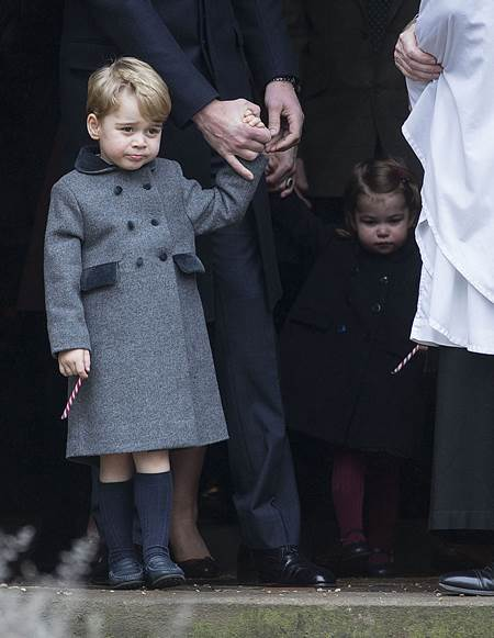 Mandatory Credit: Photo by Rupert Hartley/REX/Shutterstock (7665923m) Prince George Christmas Day church service, Englefield, UK - 25 Dec 2016 Prince Willam and Catherine Duchess of Cambridge take Prince George and Princess Charlotte to church on Christmas morning at Englefield, as they spend Christmas with the Middleton family.