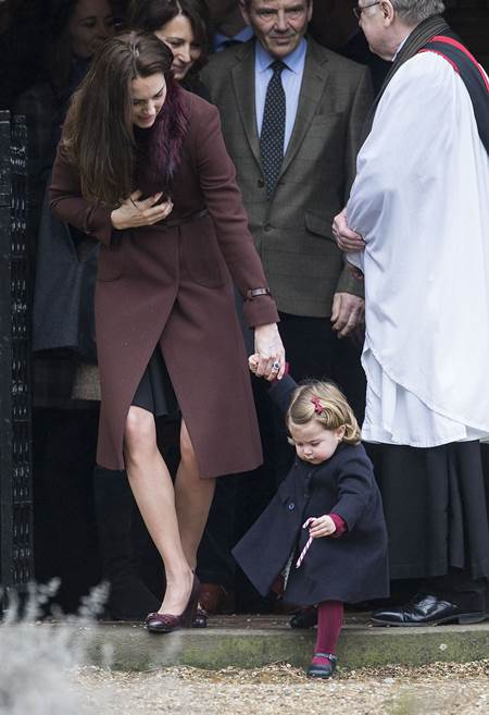 Mandatory Credit: Photo by Rupert Hartley/REX/Shutterstock (7665923o) Catherine Duchess of Cambridge and Prince George Christmas Day church service, Englefield, UK - 25 Dec 2016 Prince Willam and Catherine Duchess of Cambridge take Prince George and Princess Charlotte to church on Christmas morning at Englefield, as they spend Christmas with the Middleton family.