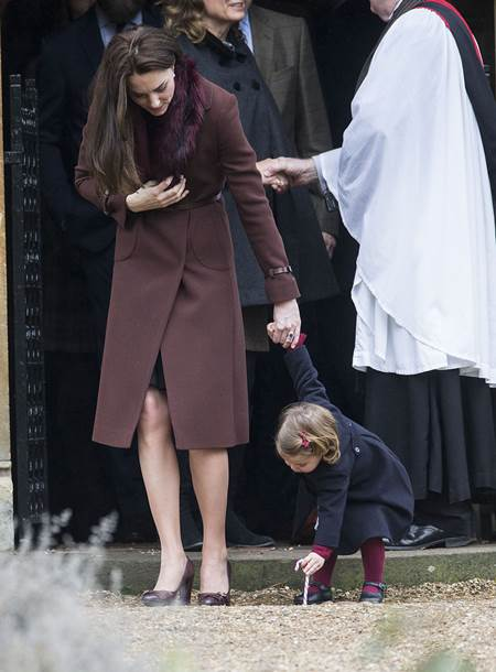 Mandatory Credit: Photo by Rupert Hartley/REX/Shutterstock (7665923p) Catherine Duchess of Cambridge and Prince George Christmas Day church service, Englefield, UK - 25 Dec 2016 Prince Willam and Catherine Duchess of Cambridge take Prince George and Princess Charlotte to church on Christmas morning at Englefield, as they spend Christmas with the Middleton family.