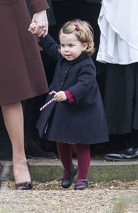 Mandatory Credit: Photo by Rupert Hartley/REX/Shutterstock (7665923q) Princess Charlotte Christmas Day church service, Englefield, UK - 25 Dec 2016 Prince Willam and Catherine Duchess of Cambridge take Prince George and Princess Charlotte to church on Christmas morning at Englefield, as they spend Christmas with the Middleton family.