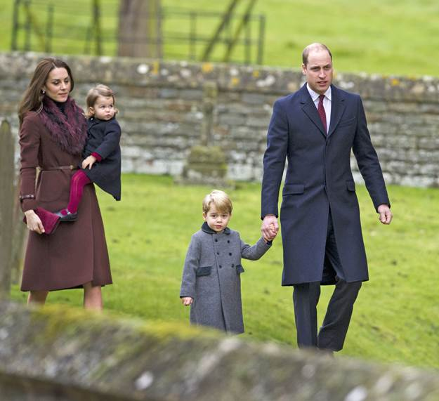 Mandatory Credit: Photo by REX/Shutterstock (7666247c) Catherine Duchess of Cambridge and Prince William with Princess Charlotte and Prince George Christmas Day church service, Englefield, UK - 25 Dec 2016