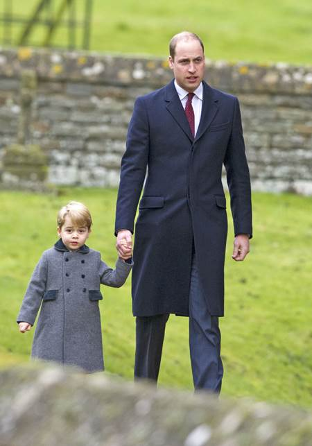 Mandatory Credit: Photo by REX/Shutterstock (7666247d) Prince William and Prince George Christmas Day church service, Englefield, UK - 25 Dec 2016