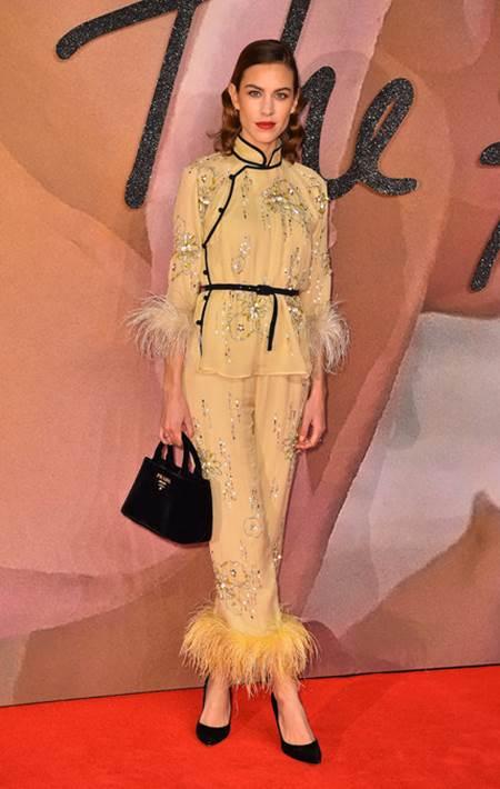 Alexa Chung attending The Fashion Awards 2016 at the Royal Albert Hall, London.