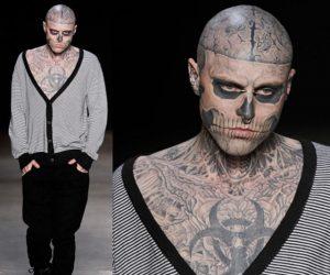 Model Terkenal Dengan Tatu Skeleton Mati Bunuh Diri