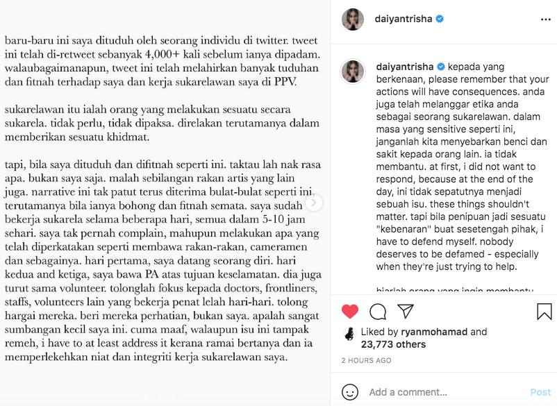 Khidmat Sukarela di PPV, Daiyan Trisha Kecewa Difitnah Sekadar Datang Bergambar